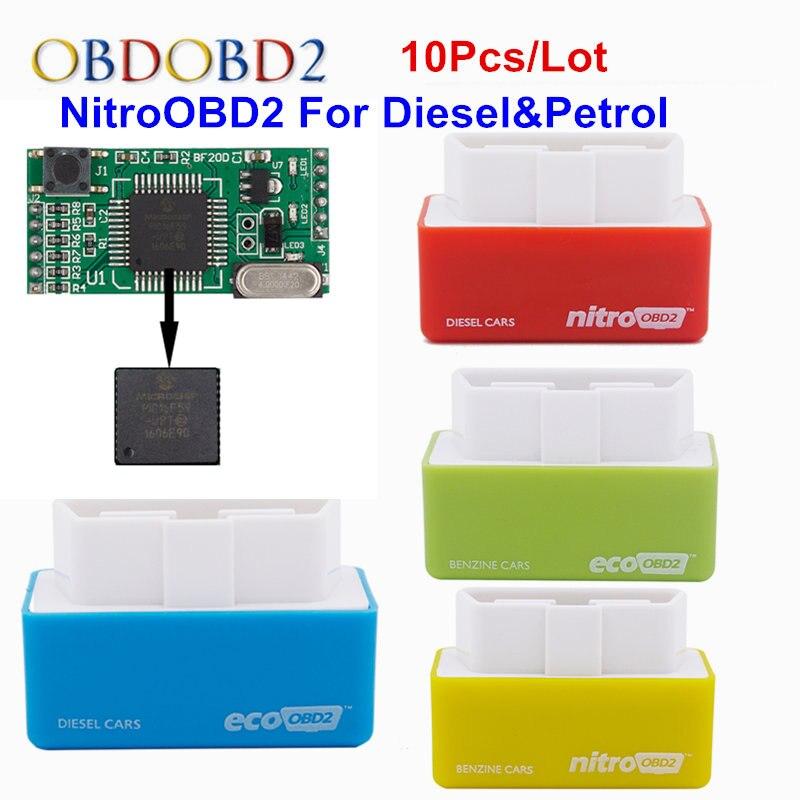 10 шт./лот автомобиля диагностический Авто ЭБУ чип тюнинг коробка Nitro OBD2 сканер для дизельных автомобили производительности Двигатели для ав...