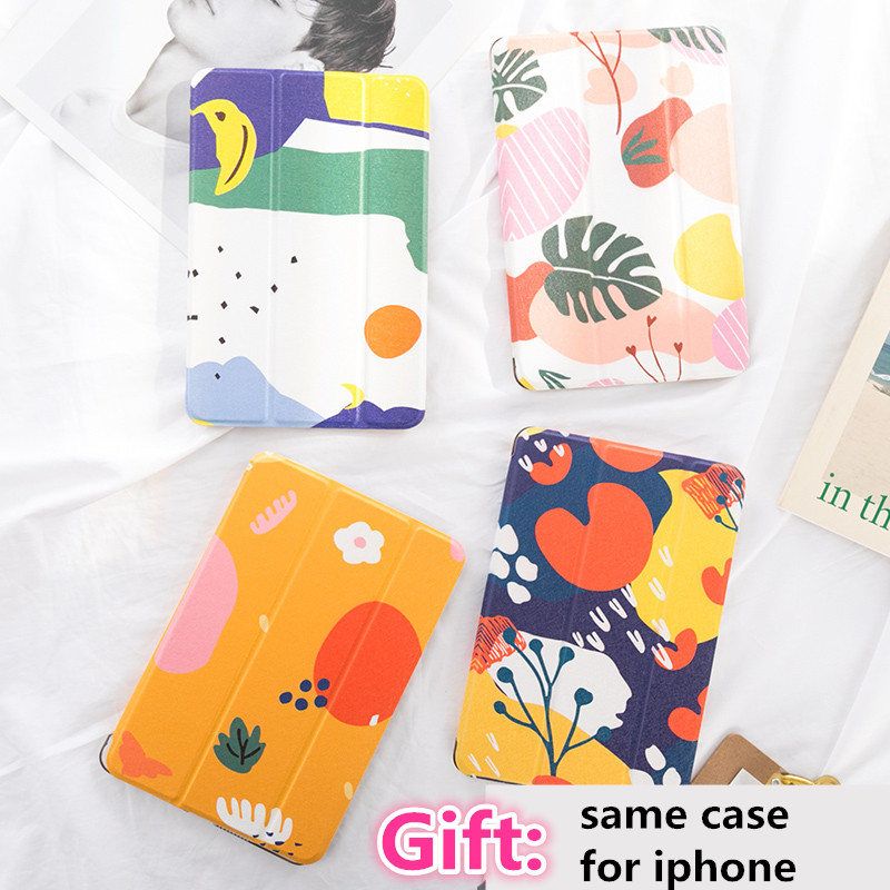 Abstract leaf Flip Cover case For <font><b>iPad</b></font> <font><b>Pro</b></font> <font><b>9.7</b></font> air 10.5 10.2 11 12.9 2019 2020 Mini 2 3 4 5 Tablet Case For <font><b>ipad</b></font> <font><b>9.7</b></font> <font><b>2017</b></font> 2018 image
