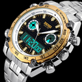 2016 Brand SKMEI Men Sport Watch Full Stainless Steel Waterproof Male Quartz Digital Dual Display Wristwatches Relogio Masculino