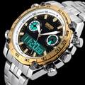 2016 Marca SKMEI Hombres Reloj Deportivo Digital de Doble Pantalla de Cuarzo Resistente Al Agua Macho de Acero Inoxidable Completa Relojes de Pulsera Relogio masculino