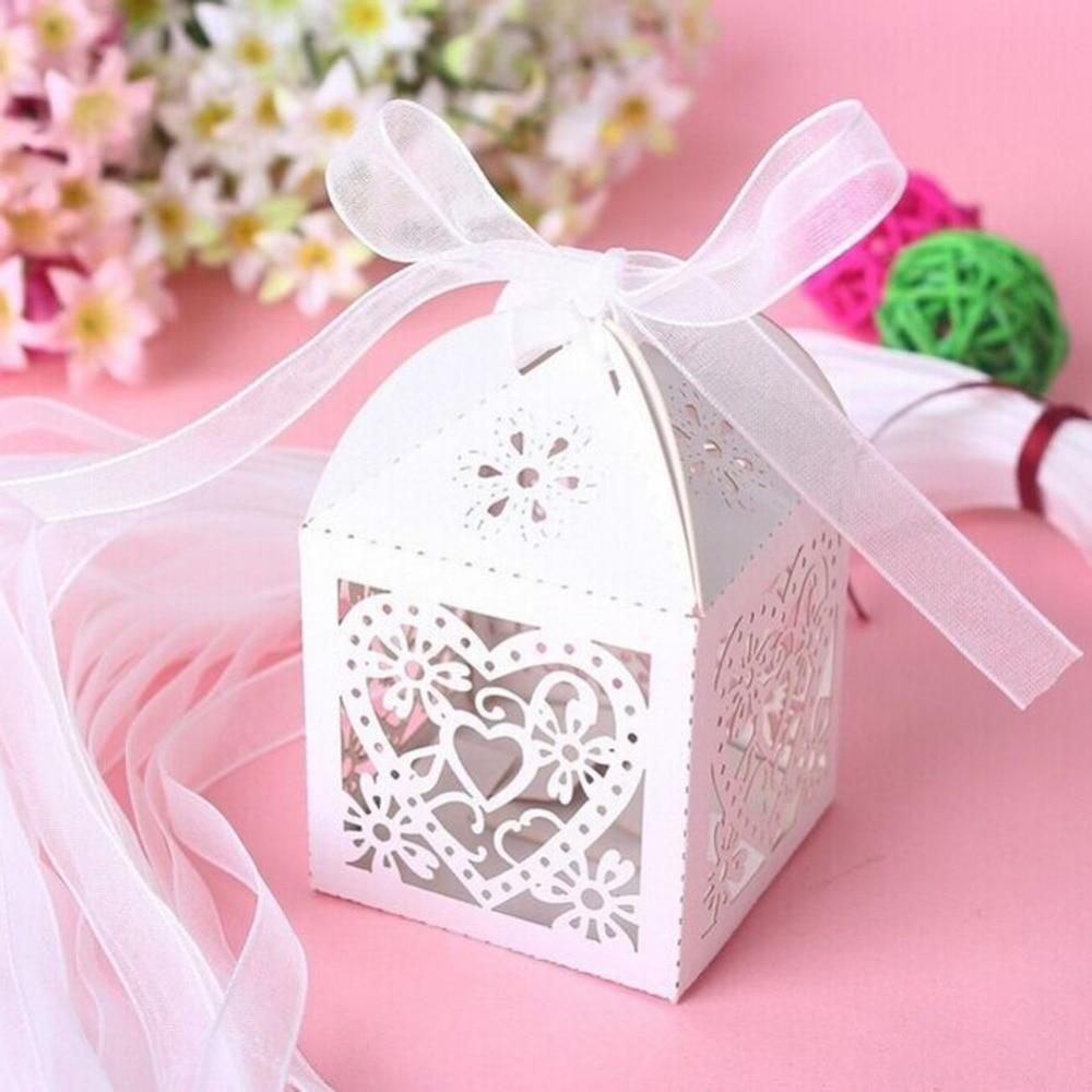 KAZIPA 50pcs White Laser Cut Romantic DIY Love Heart Candy Boxes ...