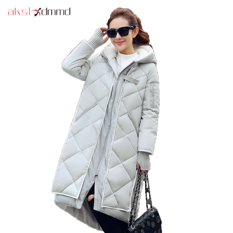winter women long parka jacket 2016 new x-long thick warm women coat big size loose down cotton coat winter outwear DX584 winter women down cotton coat long section thick warm cotton jacket solid color wild pockets zipper casual jacket loose parka