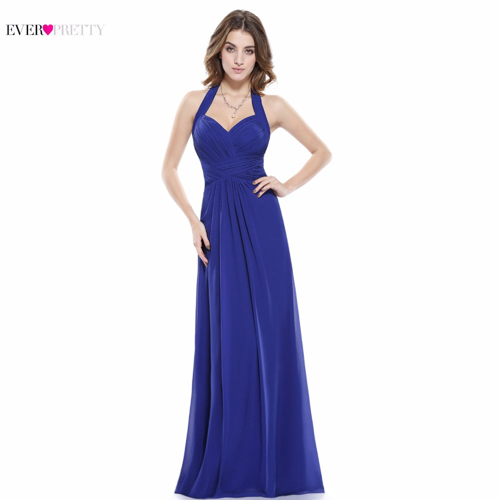 Sapphire Blue Prom Dress A Line Ever Pretty New Arrival Sexy Empire Halter Long Maxi EP08487 Sleeveless Long Prom Dresses 2017