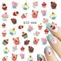 STZ 1 Folhas Nail Art Água Decalques Crianças Printing DIY Beleza Etiqueta Do Prego Decorações Do Bolo Doces Coloridos Dicas STZ444