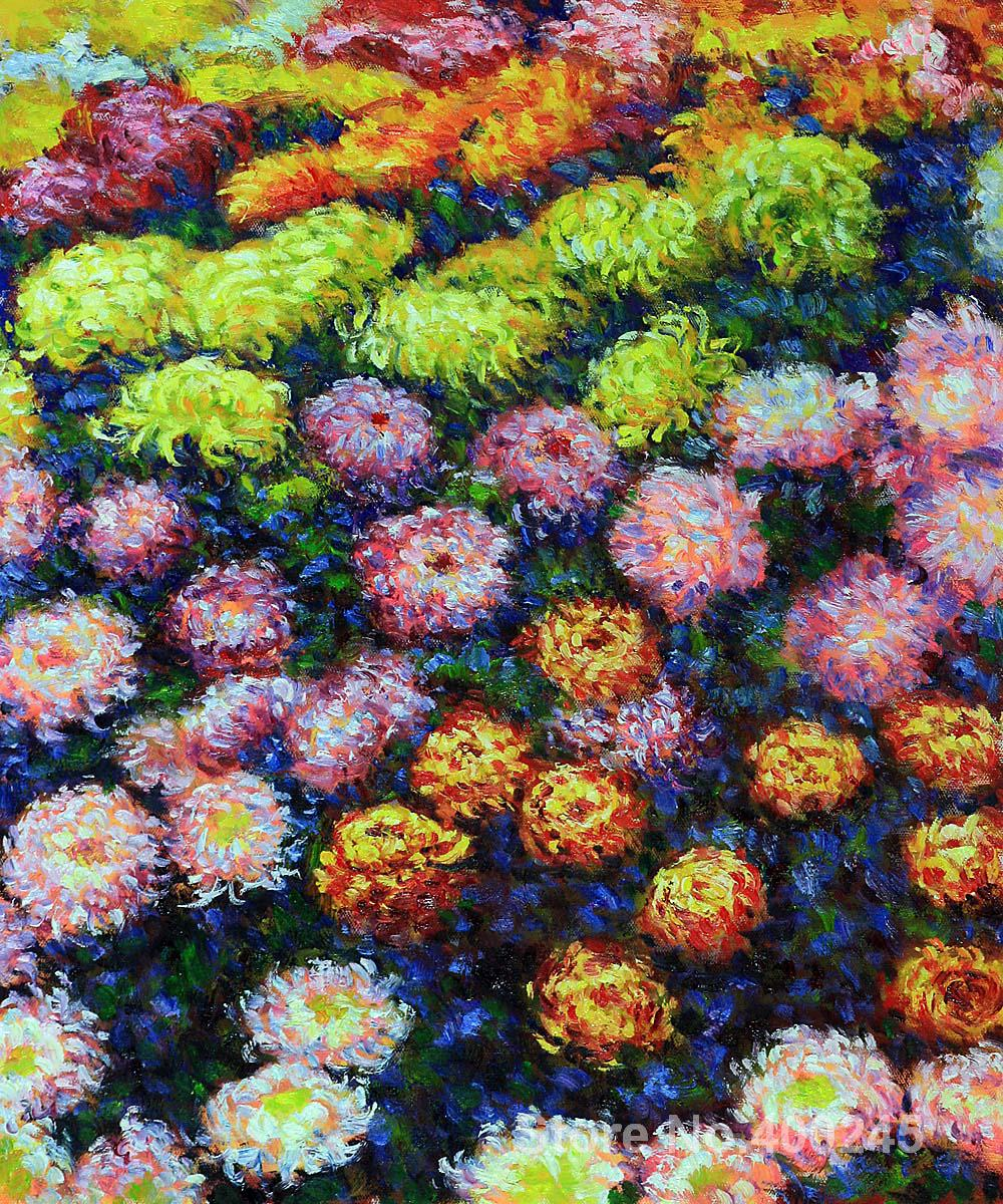 Christmas Gift art on Canvas Bed of Chrysanthemums by Claude Monet Painting High Quality Handmade