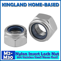 M2 M30 DIN985 Nylon Insert Lock Nuts 304 Stainless Steel Fasteners DIY Hardware For Furniture LM006