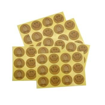 120pcs/lot Cute Merry Christmas Santa Claus Round Self-adhesive  Kraft Paper Sticker DIY Label Kid Stationery Stickers