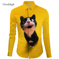 Cloudstyle Yellow Cat Kitten Long Sleeve Shirt 3d Mens Long Sleeve Shirts Ou Code M 2XL