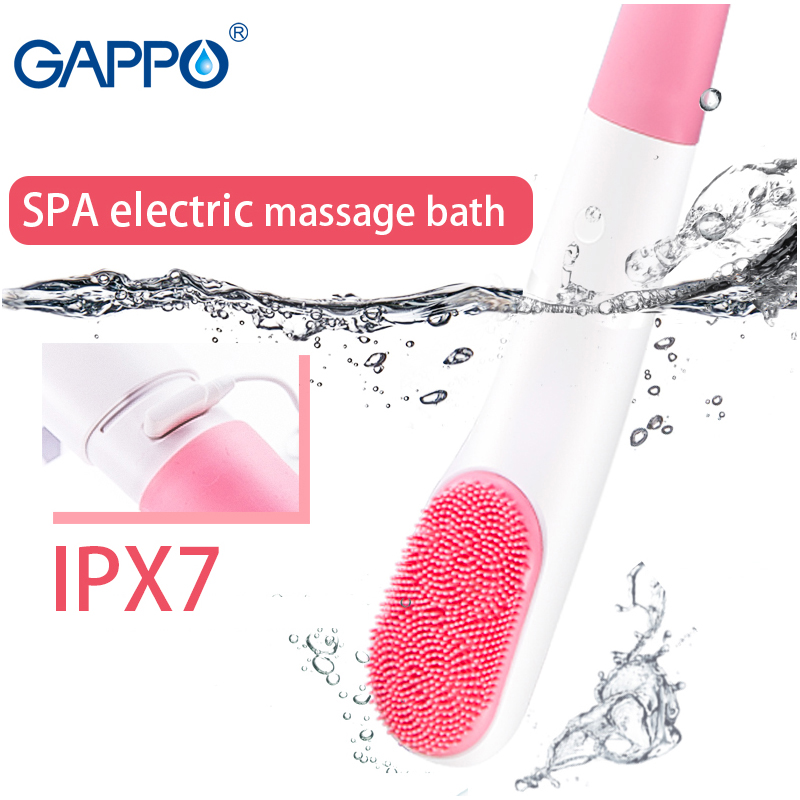 GAPPO Electric Bath Shower Brush Handheld 3 Modes SPA Massage Cleaning Bath Brush IPX7 Water Resistant Long Handle