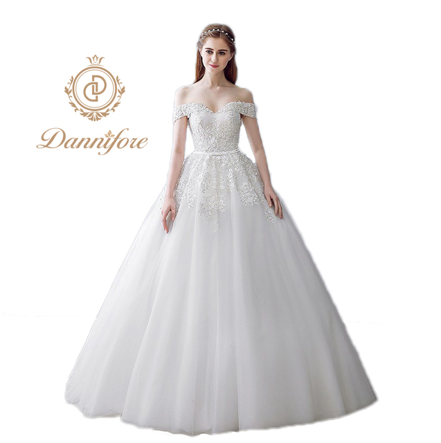 Dannifore Simple Elegant Wedding Dresses Long Bridal Ball Gowns 2017 Custom  Made Plus Size Vestido De