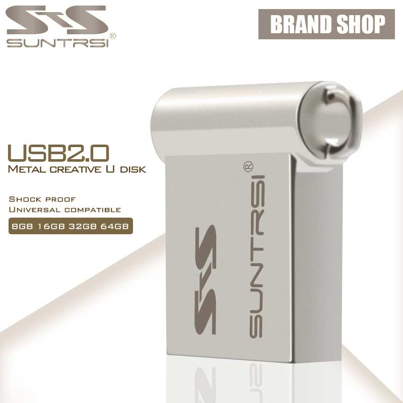 Suntrsi USB Flash Drive Metal Mini Pendrive 64GB USB Stick 32GB/16GB Personal Logo Pen Drive High Speed USB Flash Memory USB 2.0 suntrsi smart phone usb flash drive metal pen drive 64gb pendrive 8gb otg external storage micro usb memory stick flash drive