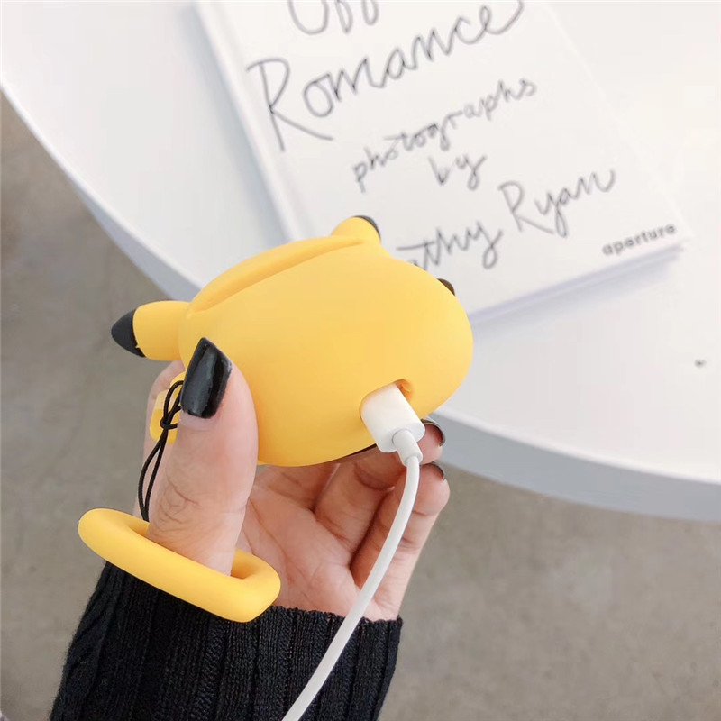 Luxury Lovely Cute 3D Cartoon Silicone Wireless Earphone Case For Apple Airpods1 2 Protective Case Cover with Finger Ring Straps in Earphone Accessories from Consumer Electronics