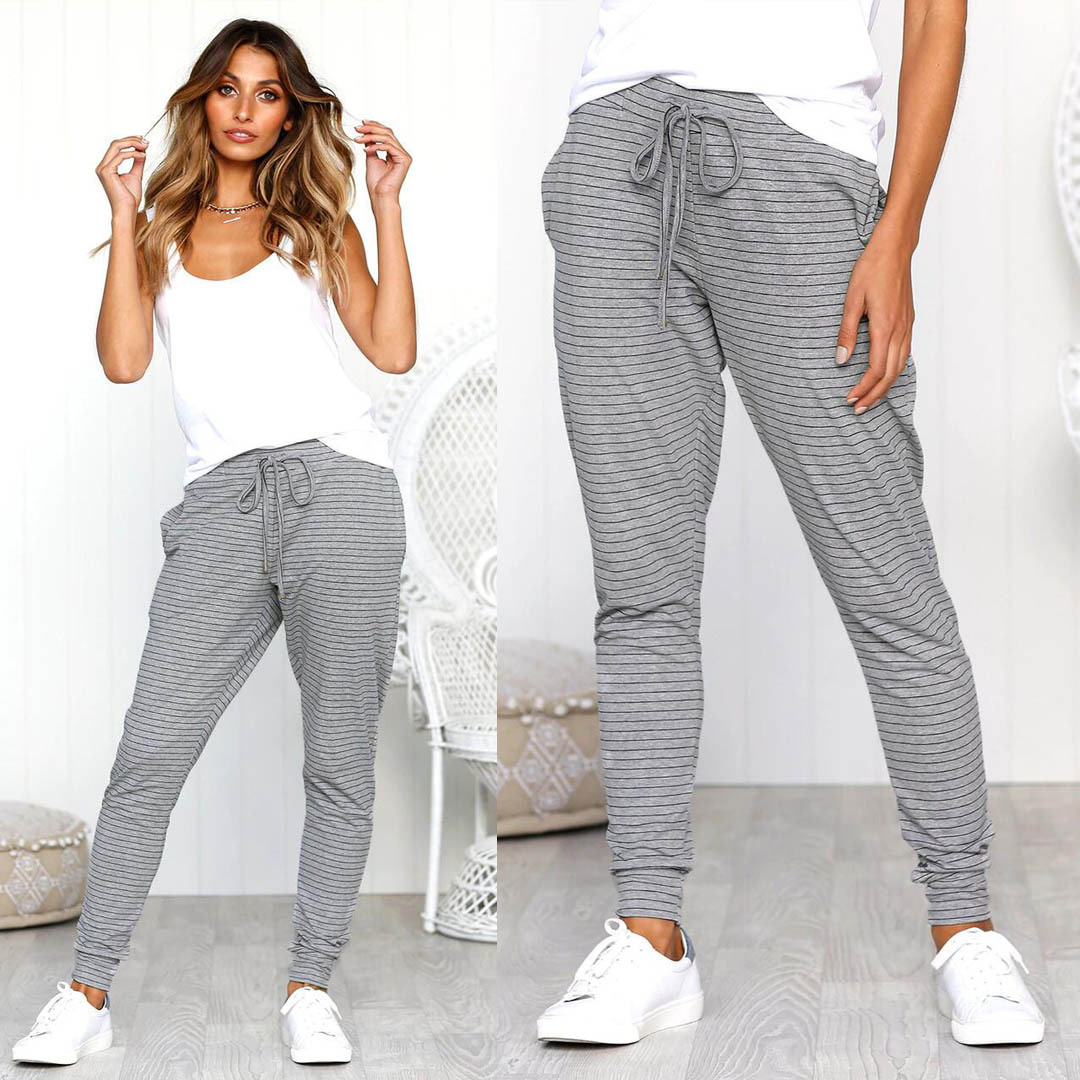 все цены на Sports Pants Women Striped Full Length High Waist Pants Women Grey Color Side Pocket Woman Female Trousers Joggers Autumn NEW