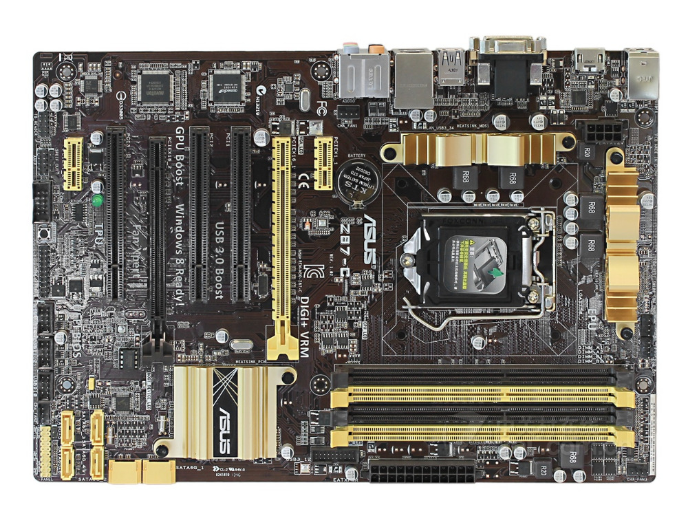 ASUS Z87-C desktop motherboard Z87 DDR3 LGA 1150 motherboard Socket LGA 1150 i7 i5 i3 DDR3 32G SATA3 UBS3.0 mainboard laptop lcd display screen for lg lp141wp3 tl a1 14 1 led 40pin high resolution yellow interface on the right side