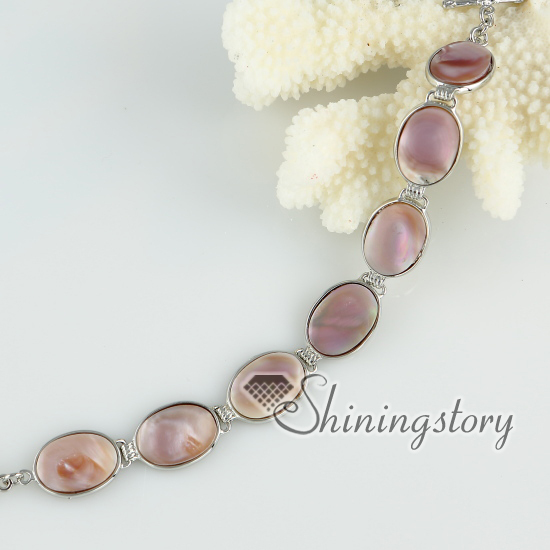 pink oyster sea shell tennis bracelets round oval wrap bracelets mother of pearl jewelry Cheap fashion jewelry Fashion jewelry