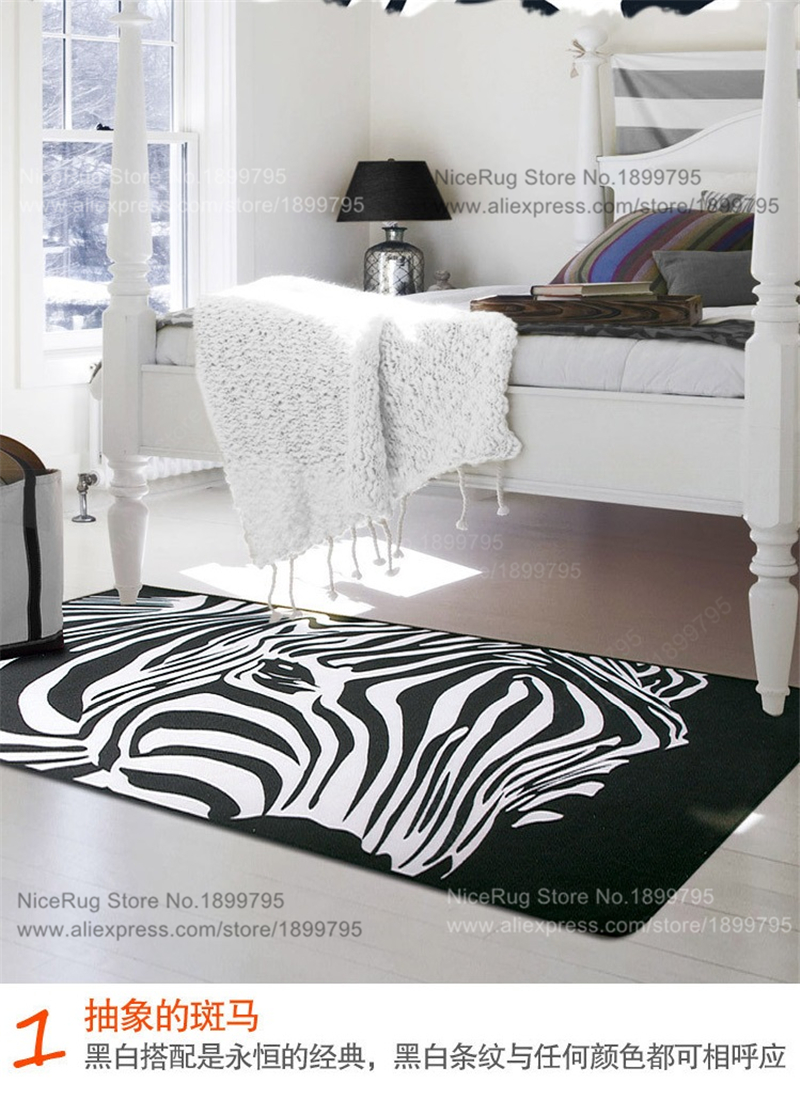 Geom Trica Preto Branco Zebra Listrado Tapetes Tapetes De Sala  -> Tapete Sala Listrado Preto E Branco