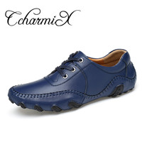 CcharmiX Handmade Genuine Leather Mens Casual Shoes Lace Up Italian Style Blue Men Leather Footwear Top