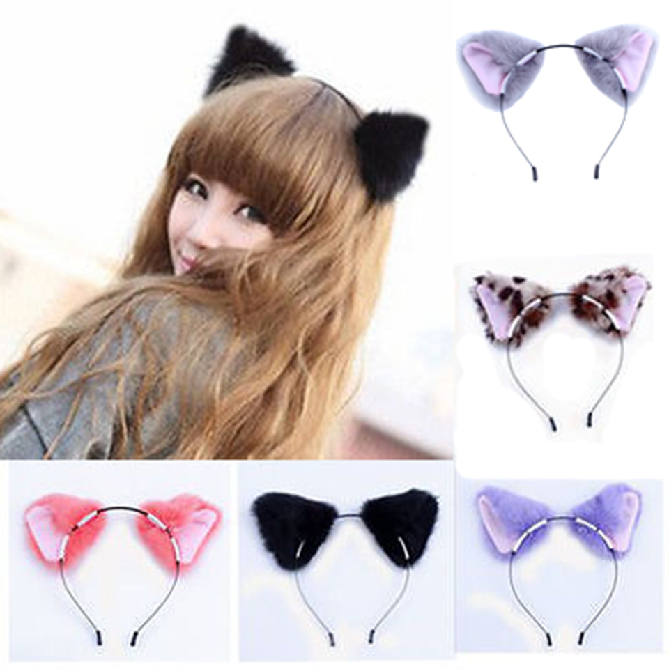 Cat Ear Orecchiette Headband Party Fox Long Fur Ears Costume Hair Headbands Cosplay Head Band cosplay party cat fox long fur ears neko costume hair clip halloween orecchiette y103