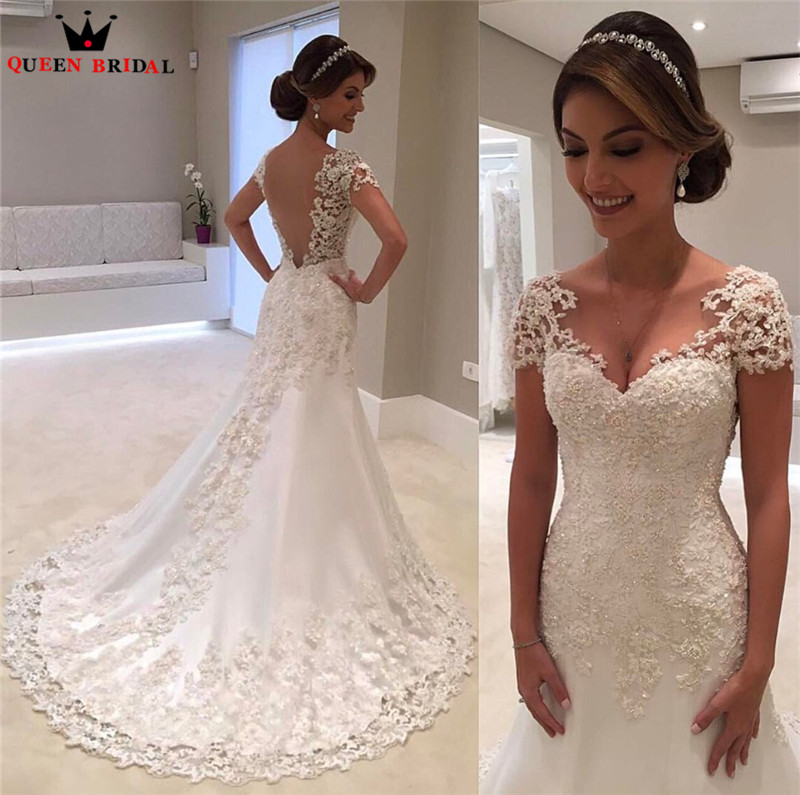 QUEEN BRIDAL Short Wedding Dresses A line Half Sleeeve Lace Elegant Formal Wedding Gowns Vestido De Noiva Bridal Gowns JW87