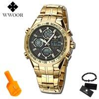 2019 New Luxury Brand WWOOR Men Sport Watches Men's Quartz Digital Analog Clock Man Full Steel Wrist watch relogio masculino BOX