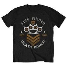 Пять пальцев смерть удар шеврон футболка мужская музыка хлопка футболку FFDP est. 2015 т рубашки взрослых черный sml XL XXL