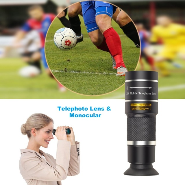 APEXEL Optical Telescope lens 20x telephoto monocular lentes with selfie tripod monopod for iPhone Samsung Smartphones Hunting 4