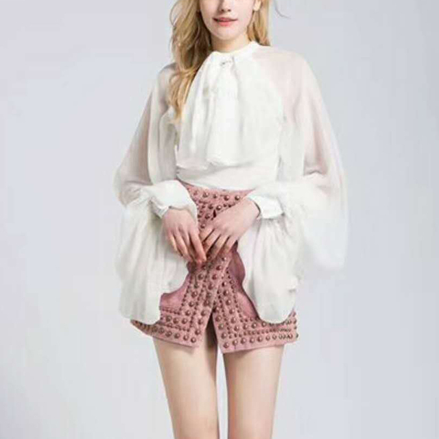 TWOTWINSTYLE Bowknot Chiffon Blouse Shirt Women Lantern Sleeve Tulle Transparent Sexy Tops Large Size 2018 Spring Summer Casual 3