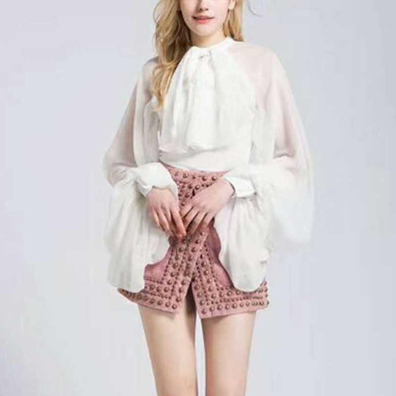 Twotwinstyle bowknot chiffon blusa camisa feminina lanterna manga tule transparente sexy topos tamanho grande 2019 primavera verão casual