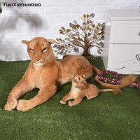 simulation lioness plush toy female lion about 75cm and 32cm baby lioness soft doll birthday gift h2230