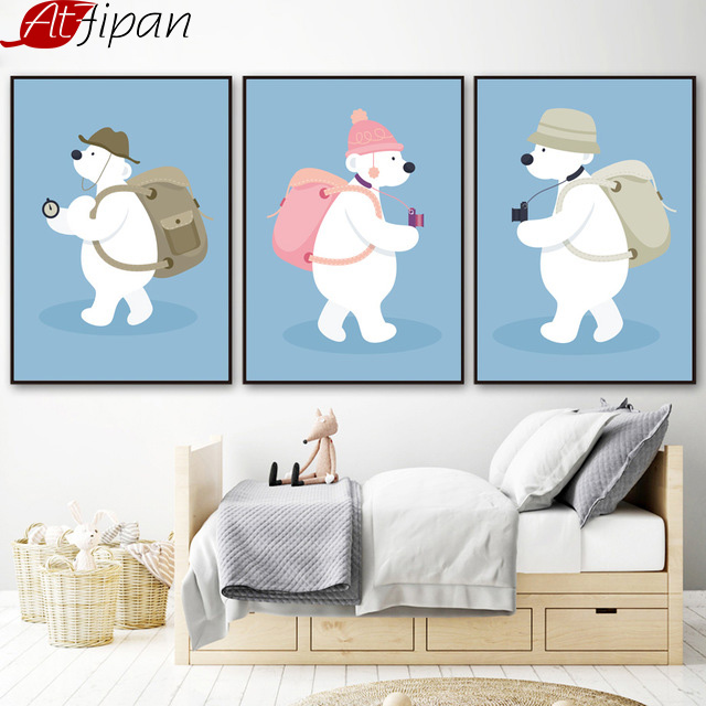 Atfipan Framed Polar Bear Posters en Prints Wall Art Print Animal - Huisdecoratie