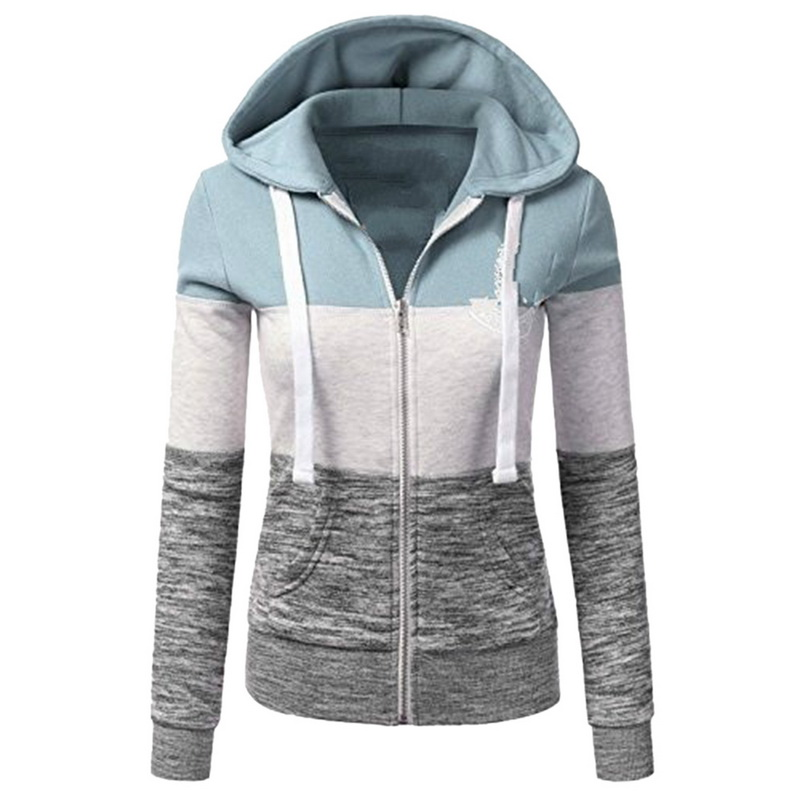 MoneRffi Sweatshirts Women Hoodies Long Sleeve Hoody Ladies Zipper Pocket Patchwork Hooded Sweatshirt Woman Baseball font
