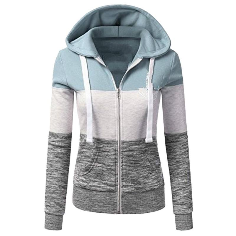 MoneRffi Sweatshirts Women Hoodies Long Sleeve Hoody Ladies Zipper Pocket Patchwork Hooded Sweatshirt Woman Baseball Jacket