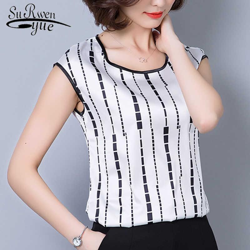8fb1d053295 2018 fashion sleeveless chiffon women s clothing geometric striped plus  size 5XL women blouse shirt women s tops