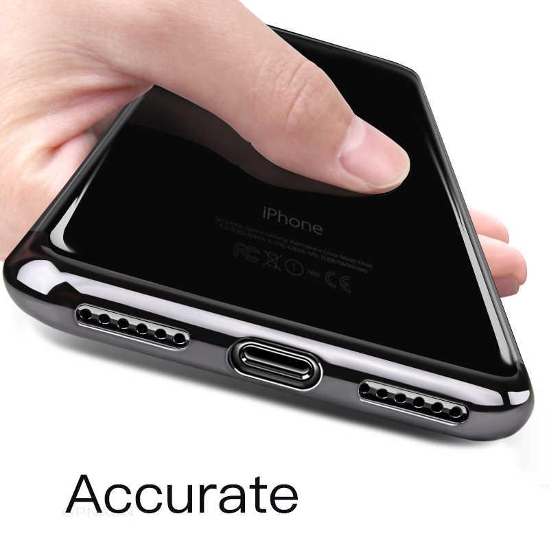 高級メッキ Iphone 6 6s 7 8 × ケース透明シリコン電話ケース iphone 8 7 6 6S プラスソフト TPU バックカバー