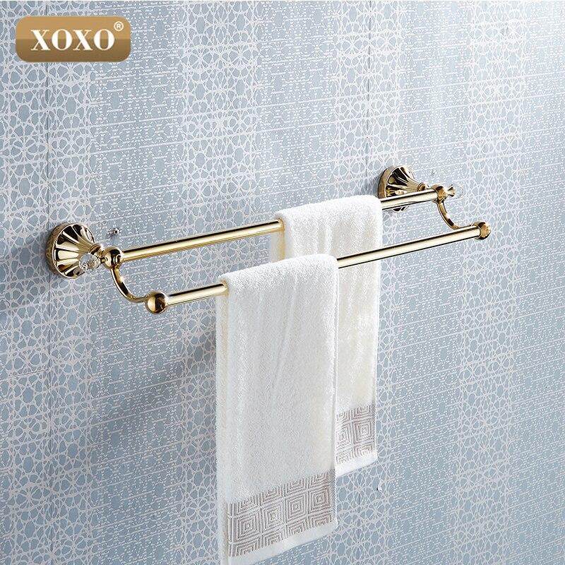 xoxo trumpet shape brass crystal double towel bar golden color towel rack bathroom accessories