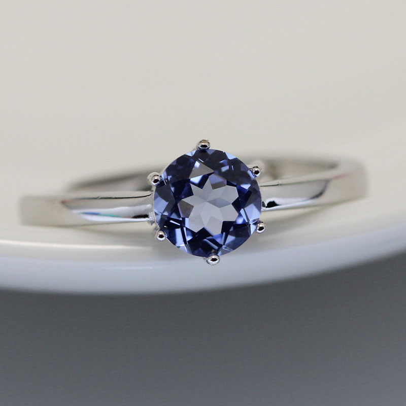 1CT blue stone ring S925 silver colored stone rings blue ...