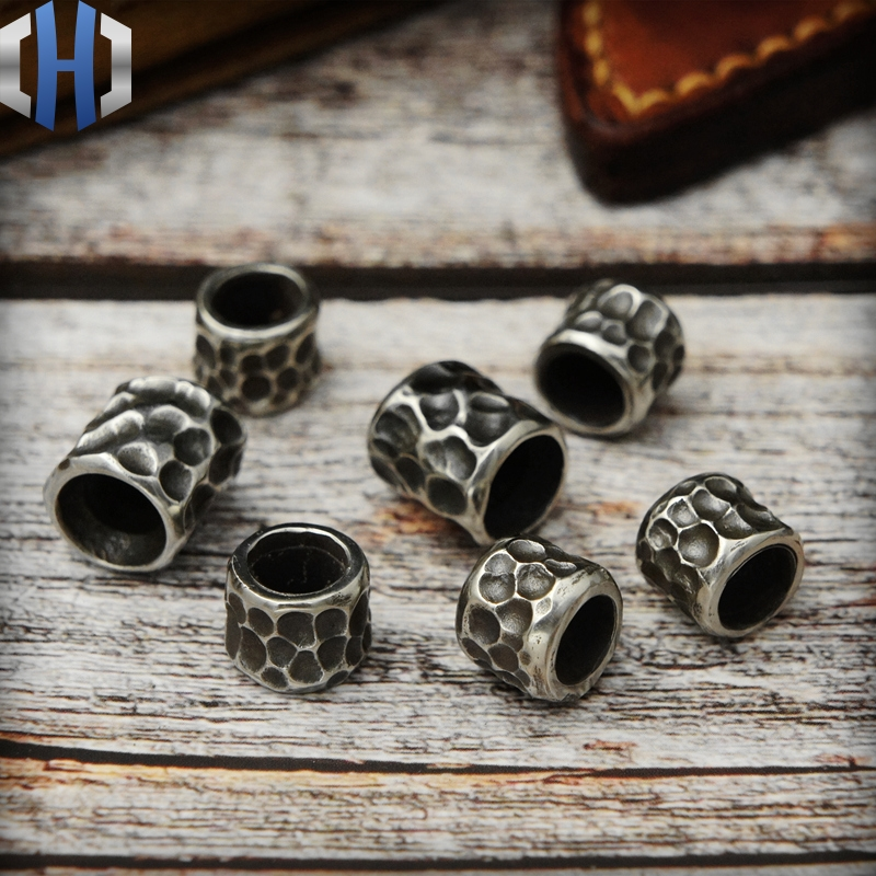 Original Design EDC Umbrella Rope Keychain Handmade DIY Knife Beads Pendant Brass Silver Material Outdoor Tools