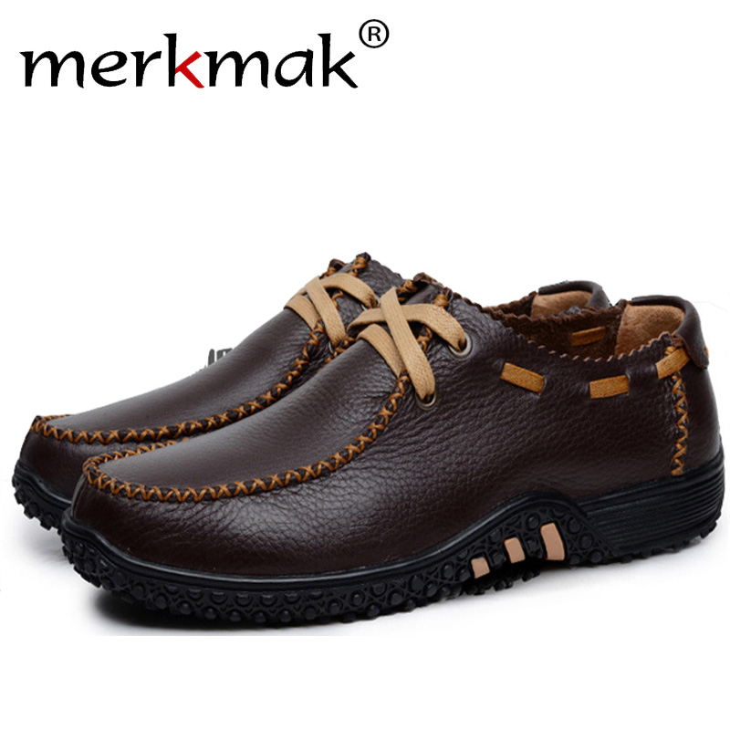 Merkmak Casual Shoes Men Genuine Leather Fashion Breathable Business Driving Man Flats Shoes Plus Size 37-47 Drop Shipping men shoes tide shoes casual fashion oxford business men shoes leather high quality soft casual breathable men s flats man shoes