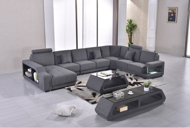 Fabric Sofa For Living Room With Corner U Shaped Sectional