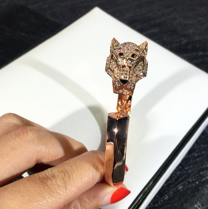 Bijoux de fête de mode chaude pour les femmes Rose or noir motif panthère bijoux de mariage bracelet léopard bijoux réglables - 4