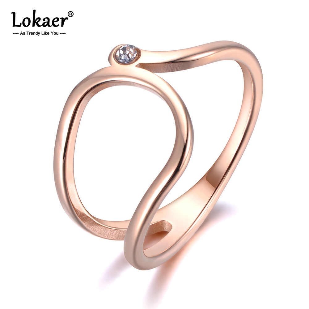 Lokaer Simple Design CZ Crystal Anniversary Rings Jewelry For Women Girls Rose Gold Color Stainless Steel Diy Accessories R19021
