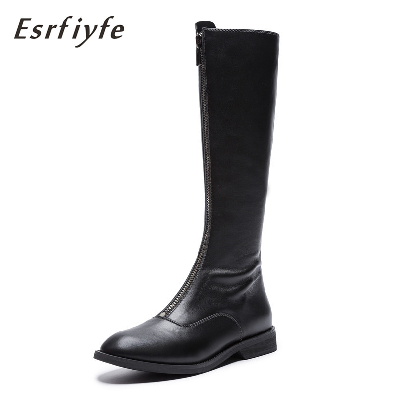 ESRFIYFE 2019 new top quality size 33-43 brand shoes women knee high boots genuine leather square heels riding boots woman shoes karinluna 2018 top quality size 33 41 brand shoes women knee high boots genuine leather square heels riding boots woman shoes