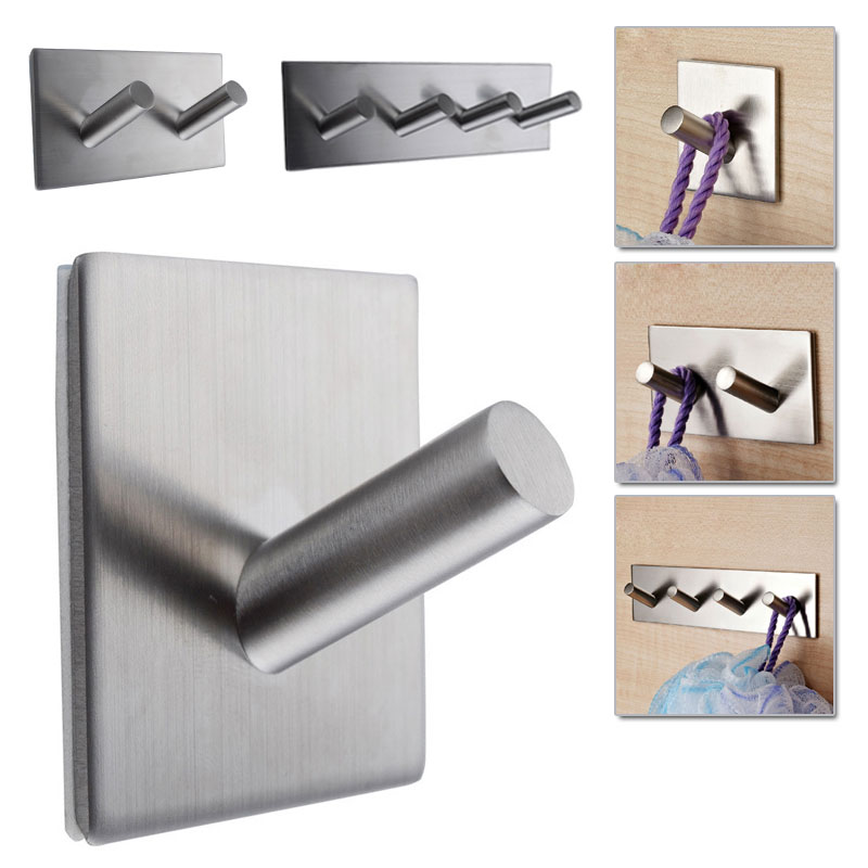 Stainless Steel Self Adhesive Hook Key Rack Bathroom Kitchen Towel Hanger Wall Mount TB Sale