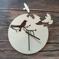 Laser Cut Wood Birds Modern Unique Handmade Wooden Clock Home Bedroom Living Room Wall Clocks Rustic Decoration