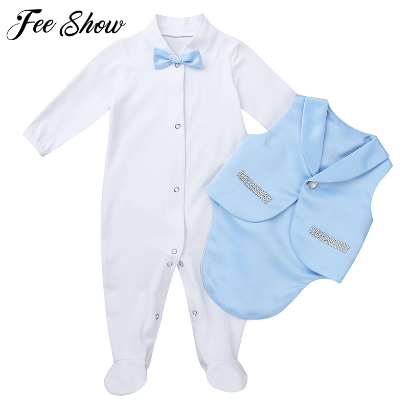 Newborn Baby BoysTuxedo Outfit Gentleman Style Long Sleeves Bowtie   Romper   with Vest Set Infant Clothing Toddler Baby Clothes