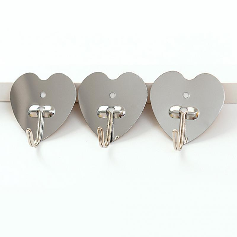 5PCS Heart Type Seamless Metal Clothes Hat Bag Hanger Hook Wall Mounted Door Keys Coat Hanger Holder Self-adhesive Decorative