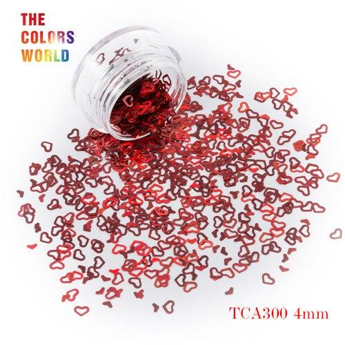 Tct-050 полые сердца Форма Лазерная красочные Глиттеры для ногтей 4 мм Размеры для ногтей Гели для ногтей украшения Макияж facepaint DIY украшения - Цвет: TCA300 50g