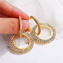 Hot Luxury Round Dangle Earrings Women Crystal Geometric Wedding Bride Jewelry Gift for