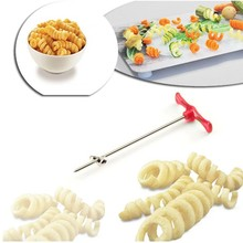 Manual Spiral Slicer Tornado Potato Spiral Cutter Vegetable Shred Device Kitchen Tools Accessories Making Twist Shredder(China)