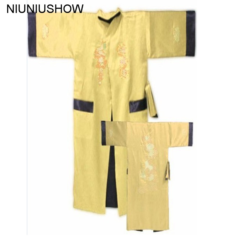 Gold Black Reversible Chinese Mens Satin Silk Two-face Robe Embroidery Kimono Bath Gown Dragon One Size S3005